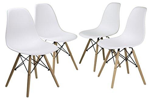 Tumueblekit krzesła do jadalni z nóżkami, buk, białe, 82 x 46 x 42 cm, 4 sztuki