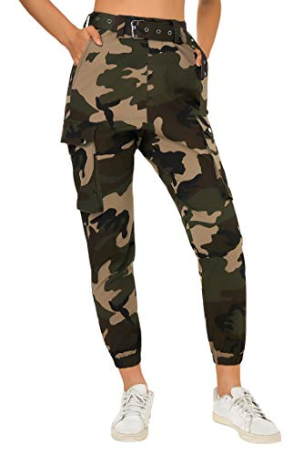 Fanient Pantaloni da carico Larghi Stampati Hip Hop per Donna con Stampa Mimetica Camouflage abbinati a Cintura Ladeis Casual Camo Pantaloni Sportivi Leggings