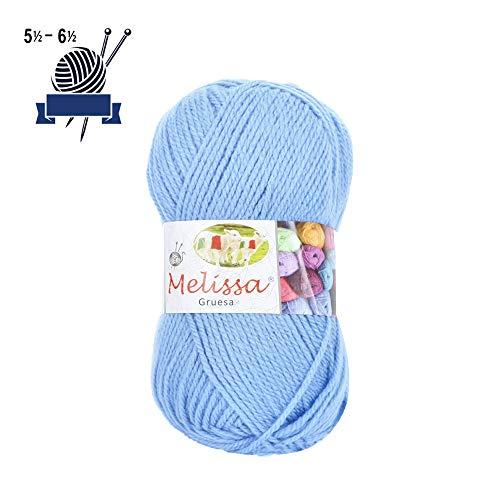 Melissa Hilo Acrílico Ovillo de Lana Premium para DIY Tejer y Ganchillo (1u * 100g), Azul 16, Gruesa
