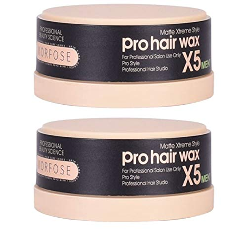 2x Morfose Pro Hair Haar Wax X5 Matte Xtreme Style 2x 150ml Haarwachs Matt Styling Wachs Hair Wax Mat Natürliches aussehen Messed up Look