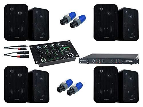 Pronomic Gastro I Komplettanlage (4x Lautsprecher Boxen Paar, Endstufe, Verstärker, USB, Mixer, Audiokabel, Speakonstecker)