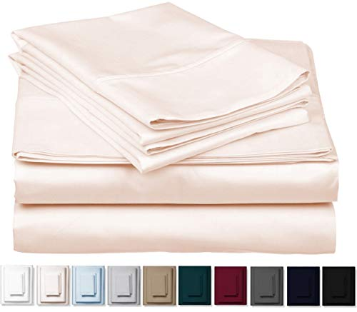 1000-Thread-Count 100% Cotton Sheet Ivory Cal King-Sheets Set, 4-Pc Long-Staple Combed Cotton Best-Bedding Sheets For Bed, Breathable, Soft & Silky Sateen Weave Fits Mattress Upto 18'' Deep Pocket