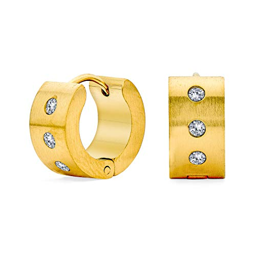 Breite 1 Reihe Zirkonia Cz Huggie Hoop Kpop Ohrringe Für Männer Für Frauen Vergoldet Edelstahl
