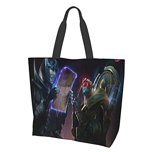 Dota 2 Reusable Shopping Bag PVC Handbag Flowers Gift Bags with Handle, Tote Bag for Travel Birthday Wedding Party
