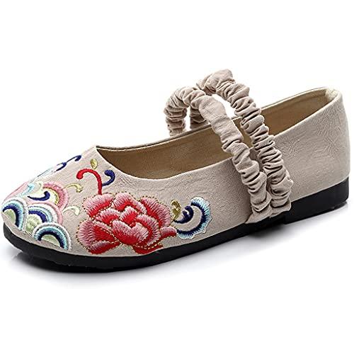 JFTMY Encaje Zapatos Bordados Arte Cola algodón cáñamo Estilo Chino Ropa Zapatos Viejos Beijing Tela Zapatos Mujeres Zapatos Casuales (Color : A, Size : Code 36)