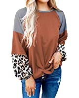 Exier Women's Long Sleeve Patchwork Tunic Oversized Color Block Casual Crewneck Pullover Sweater Tops Brown