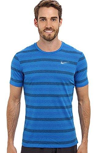 Nike Tailwind - Camiseta de manga corta para gimnasio, diseño de rayas, color azul