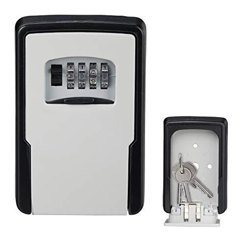 Relaxdays Sleutelkluis, 4-cijferige cijfercode, wandmontage, buiten, sleutelsafe HBT 13 x 8,5 x 4 cm, zwart/zilver