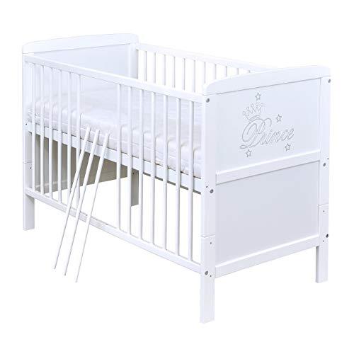 Baby Delux Babybett Kinderbett Juniorbett mit Prince Gravur 140x70 Weiß umbaubar