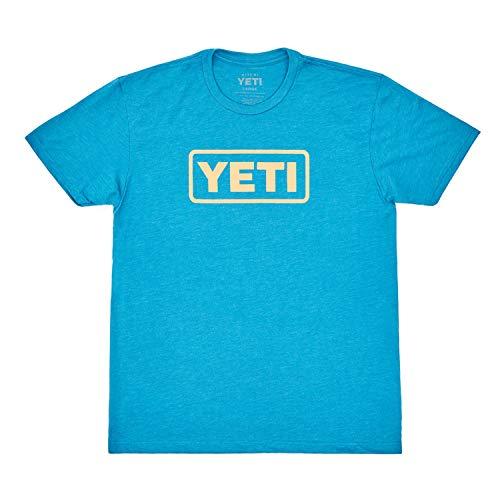 YETI Logo Badge Short Sleeve T-Shirt, Teal/King Crab Orange, Large