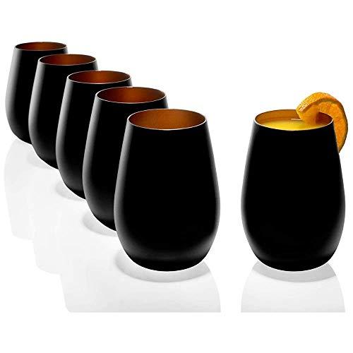 Stölzle Lausitz Gläser 465ml I Trinkgläser 6er Set I Trink-Gläser-Set spülmaschinenfest mit hoher Bruchresistenz I Universalgläser als Wassergläser Saftgläser Whisky Gläser I Schwarz Bronze