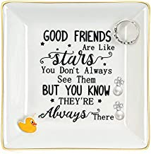 Best Friends Gifts for Women Ring Dish Trinket Good Friends are Like Stars You Don't Always See Them Trinket Plate Birthday Gifts for Friends Sister BFF Jewelry Tray