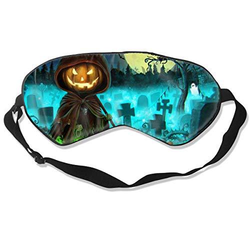 Máscara de seda para dormir con diseño de calabaza de Halloween con correa ajustable para la cabeza