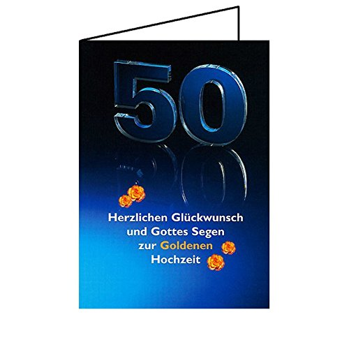 Junker Verlag Glückwunschkarte Goldene Hochzeit - Karte/Faltkarte Format DIN A6 - christliche Grußkarte, 1 Stück