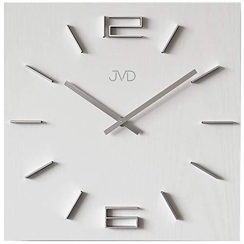 JVD HC30.1 Wanduhr Quarz analog Holz weiß viereckig modern