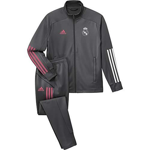 Adidas Real Madrid Temporada 2020/21 Chándal Completo Oficial, Niño, Gris, 15/16 años