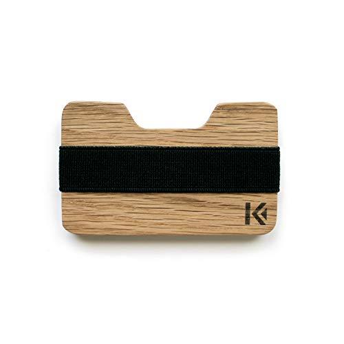 KARCAJ® Kendo - Minimalistische Geldbörse aus Premium Holz für Herren und Damen mit Kapazität für Kreditkarten und Banknoten (Eiche)