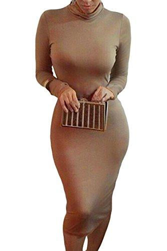 Pink Queen Womens Turtleneck Long Sleeve Knee Length Bodycon Midi Dress M Coffee