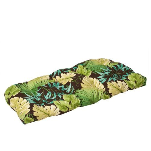Pillow Perfect Indoor/Outdoor Green/Brown Tropical Wicker Loveseat Cushion by Pillow Perfect