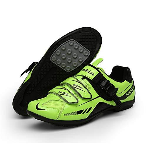 WYUKN Fahrradschuhe Für Männer Frauen Radfahren Reitschuhe Rotierende Schuhschnalle,Green-37EU=(235mm)