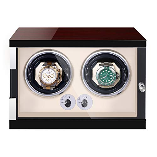 JQUEEN Watch Winder for 2 Automatic Watches,Quite Japanese Motor with LED Illumination