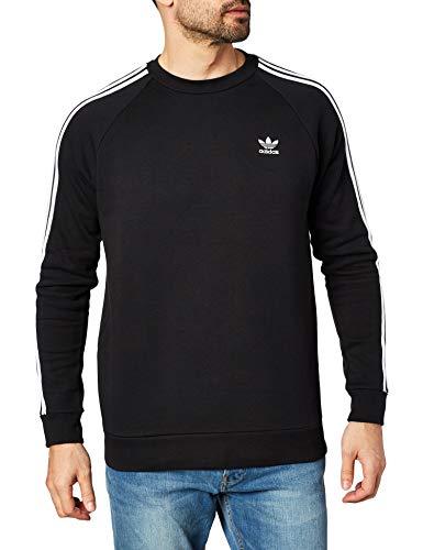 adidas 3-Stripes Crew Sudadera, Hombre, Black, S