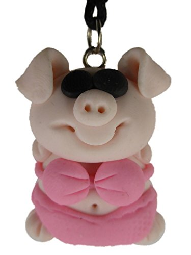 Kette Halskette mit handgemachter Figur rosa / pink Schwein in Badehose Bikini Schweinchen 1268