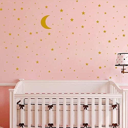 Adhesivo de vinilo para pared con diseño de luna y estrellas, extraíble para niños y niñas, decoración de habitación de bebé, buena noche, decoración de pared, hogar, casa, dormitorio (dorado)