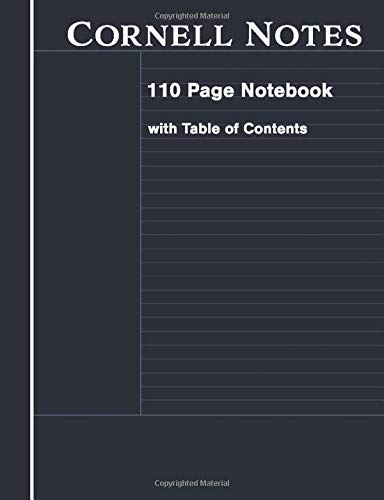 Cornell Notes: Cornell Style Paper 110 Pages with Table of Contents Composition Notebook