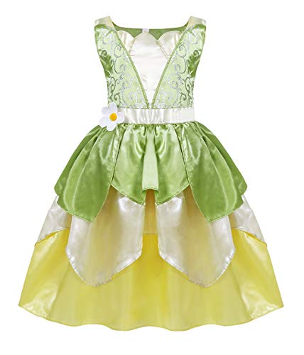 AmzBarley Disfraces de Princesa Tiana Niñas Vestidos Vestido de Fiesta Cumpleaños Partido Cosplay Halloween Carnaval Elegante