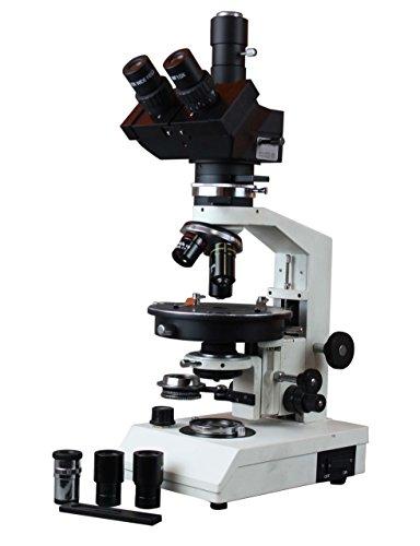 Radical trinocular microscopio de polarización W giratoria etapa Bertrand lente Full cuarto Wave Platos y puerto de cámara
