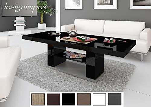 HU Design Couchtisch Tisch HN-777 Hochglanz höhenverstellbar ausziehbar Esstisch (Schwarz Hochglanz)