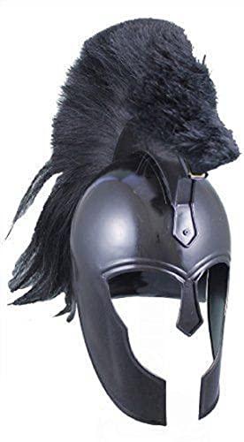 Casco espartano medieval de Troya  negro con casco de disfraz de Plume