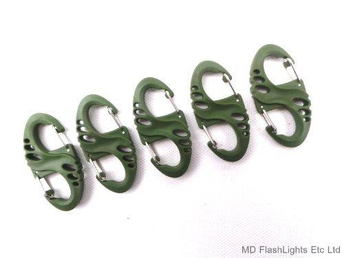 MD FlashLights Etc Ltd Lot de 5 Clips de Mousqueton en S Vert Idéal pour Transporter des Charges, des Porte-clés, des Affaires, des Survives.