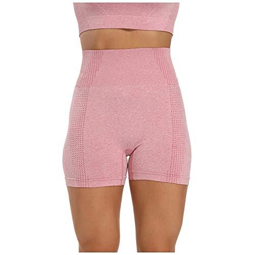 2021 Nylon Seamless Casual Sports Tight Fashion Fitness Mujeres Yoga Shorts(Rosa,M)
