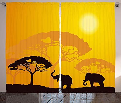ABAKUHAUS Safari Rustikaler Gardine, Afrika abstrakte Wildtiere, Schlafzimmer Kräuselband Vorhang mit Schlaufen und Haken, 280 x 225 cm, Braun Gelb Dunkelbraun Ringelblume