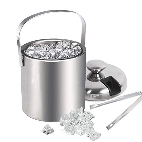 Bunao Premium Eiseimer Doppelwandiger Isolierter Edelstahl sektkühler eiswürfelbehälter mit Deckel und Zange - Zur Aufbewahrung Von EIS Oder Flasche, 1.3 Liter (Silber 2)