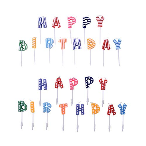 Chris.W Happy Birthday Glitter Letter Candles Cake Topper, Kids Party Favors, 2 Sets(Dots and Stripe)
