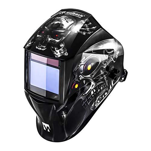 Welbach Metalator Schweißhelm Sichtfeld 100 x 65 mm Automatik Schweißhelm individuell einstellbar 4 Sensoren Lichtschutz DIN 4-8 und 9-13