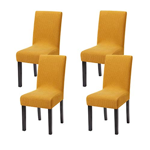 Yucoao 4 Pack Stretch Dining Chair Covers(15.5''-19.5''), Jacquard Chair Slipovers Removable Washable Spandex Furniture Protector Covers, Gold