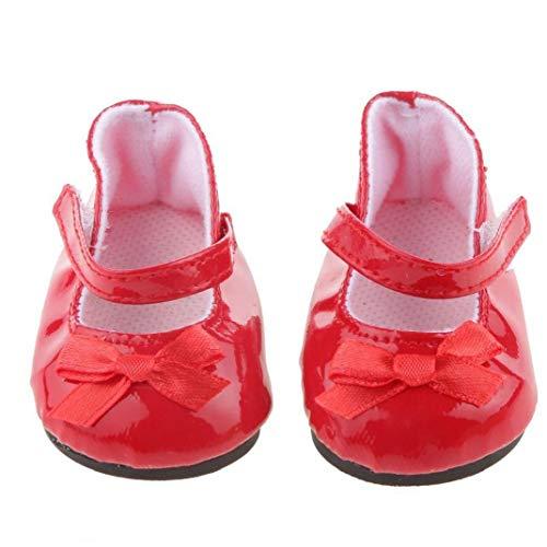 Hotaden Mini muñeca Calza los Zapatos de la muñeca con el Bowknot Encantador por 18 Pulgadas Chica Adorable muñeca Rojo