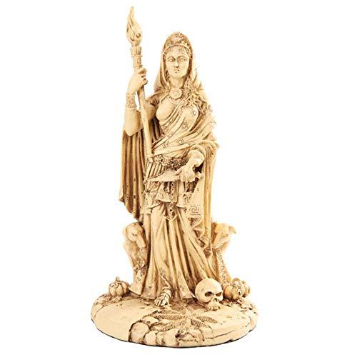 Griechisch weiß Göttin Hekate Skulptur Athen Vibrationen von Crossroads, Hexerei, Hunde und giftige Pflanzen Statue