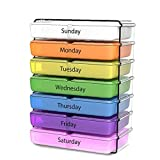 El organizador diario de la píldora de 7 días por semana compacto prescripción y vitamina organizadores- 4 veces al día Almorzar y hora de acostarse para almacenamiento
