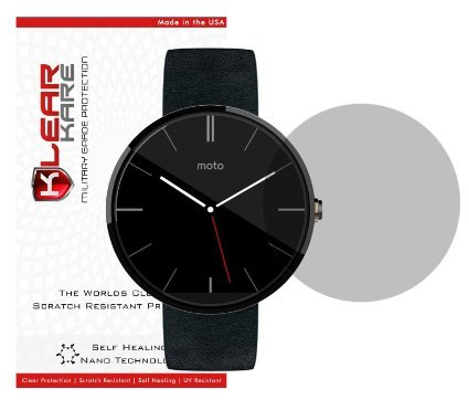 [Two Pack - Smudge Free] Top Selling - KlearKare Invisible Screen Shield Protector for Moto 360 Smart Watch | (HD) Clear | Self Healing Nano Technology | Bubble Free