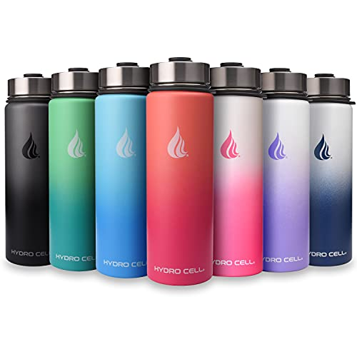 HYDRO CELL Stainless Steel Water Bottle w/ Straw & Wide Mouth Lids (64oz 40oz 32oz 24oz 18oz 14oz) - Keeps Liquids Perfectly Hot or Cold with Double Wall Vacuum Insulated Sweat Proof Sport Design (White/Pink 24 oz)
