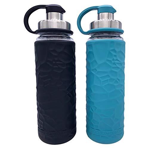 Anchor Hocking Life Wasserflaschen aus gehärtetem Glas, mit Silikonhülle, 2 Stück, je 19,5 Unzen, BPA-frei, breite Öffnung, auslaufsicher, Wiederverwendbare Wasserflaschen, Schwarz und Blau