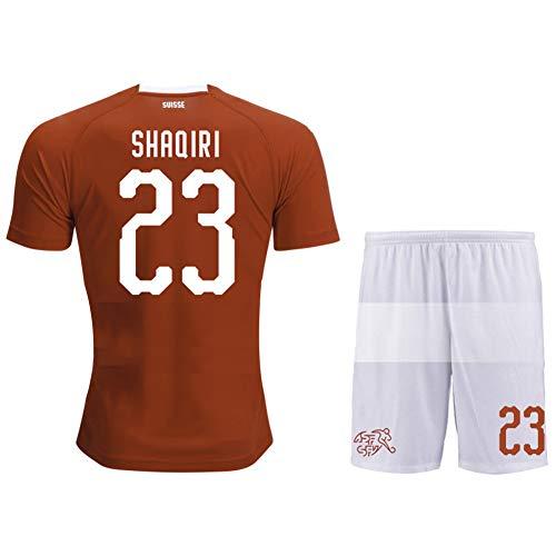 AELN 23# Shaqiri Schweiz Fußballtrikot Set für Männer-Unisex Trainingsuniform Athletentrikot Teenager Sportswear Mesh Schnelltrocknendes Kurzarm Fans Sweatshirt-M(170.175CM)