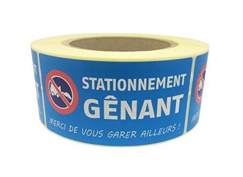 Étiquettes autocollant STATIONNEMENT GENANT - Pour voiture mal garée ou véhicule stationné sur place interdit - Ft 50 x 100 mm - En bobine/rouleau de 500 Ex dans boite distributrice.