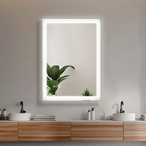 """SMART COOM LED Lighted Bathroom Wall Mounted Mirror Makeup Vanity 3000K High Lumen CRI90 Warm White Lights Anti Fog Dimmable Memory Touch Button IP54 Waterproof Vertical Horizontal (20""""×28"""")"""