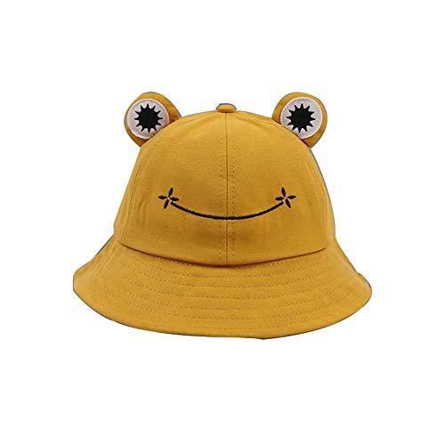 YTFU Buckethut für Erwachsene, Frosch, Anglerhut, Sonnenhut, Sommermütze aus Baumwolle, niedlicher Frosch-Hut für Damen, Baby - Mädchen, 428U2173RMC5SBU18019B, gelb 56-58cm, 6 7/8-7 1/8
